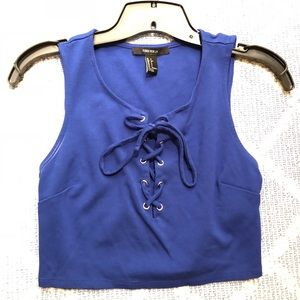 Royal blue Forever 21 lace up crop top